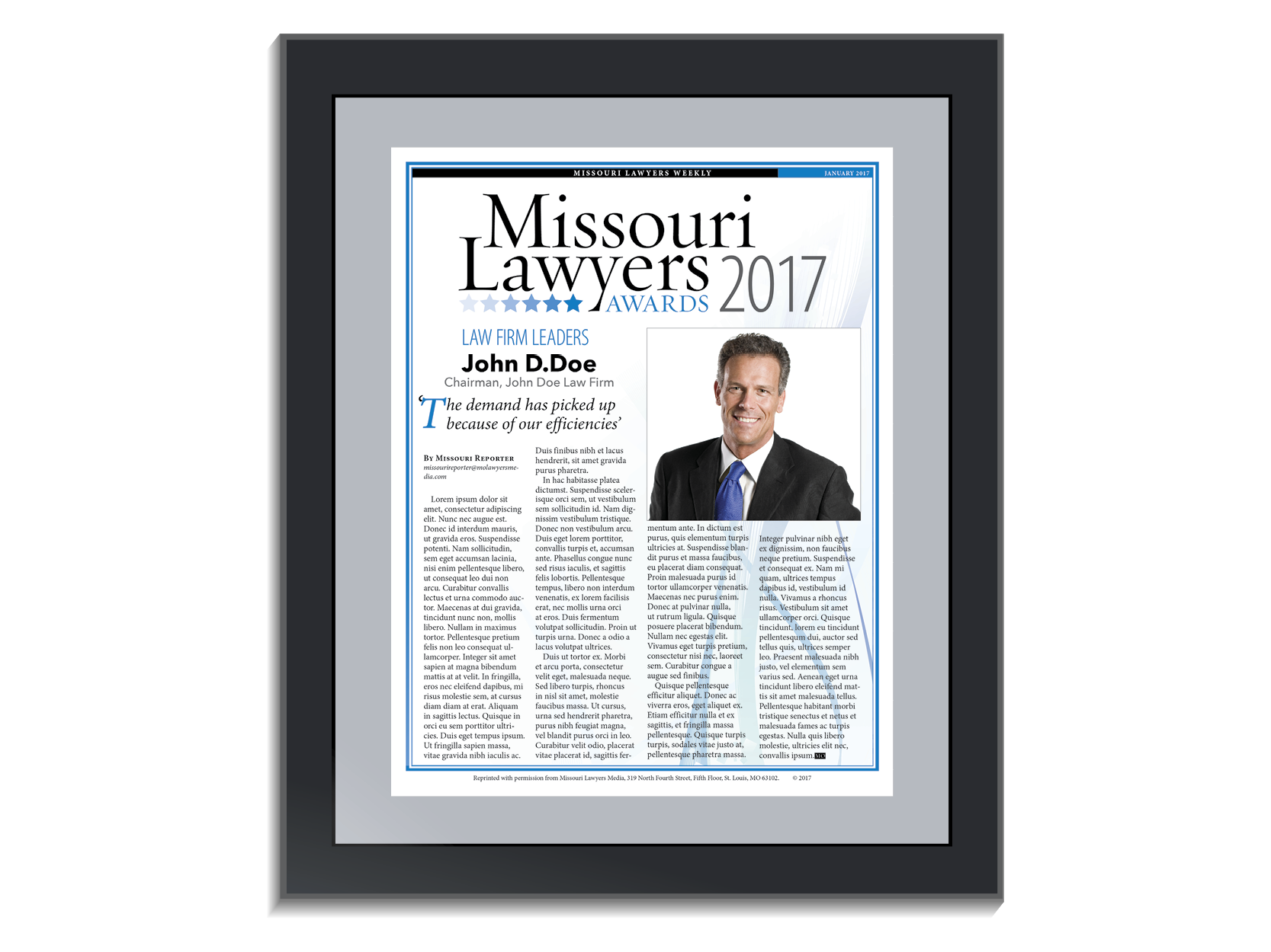Missouri Lawyers Awards PDF Article Reprint